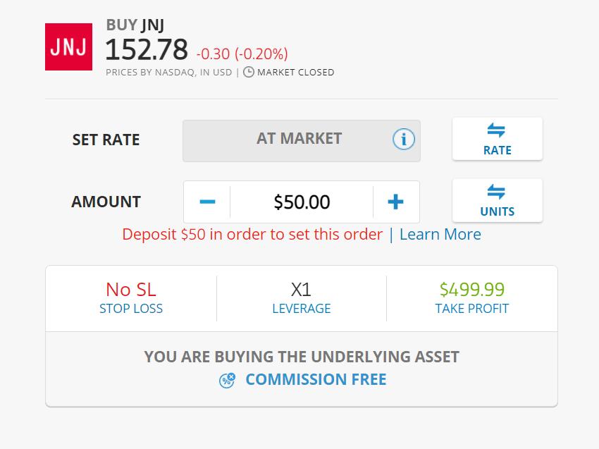 buy Johnson & Johnson shares at etoro