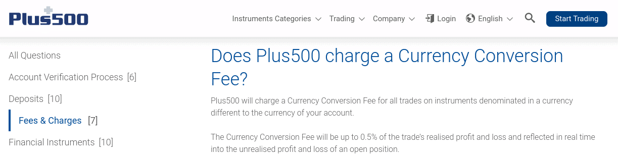 plus500 currency conversion fee