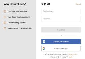 Sign up for Capitalcom