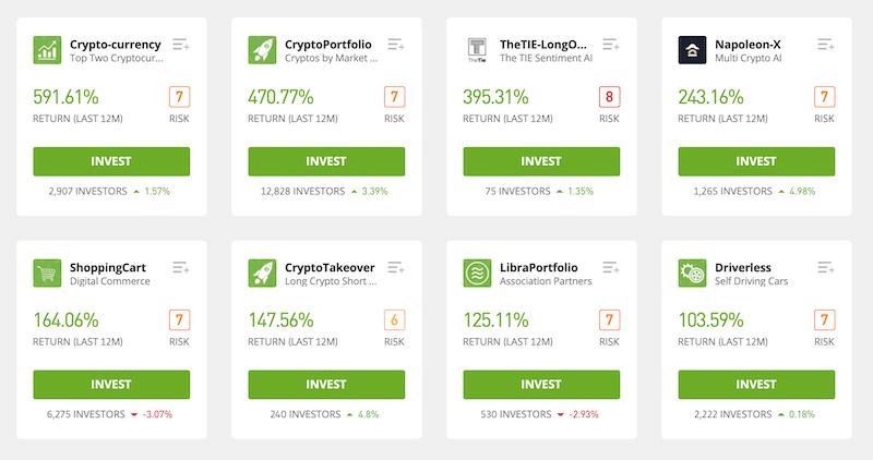 eToro cryptocurrency portfolios