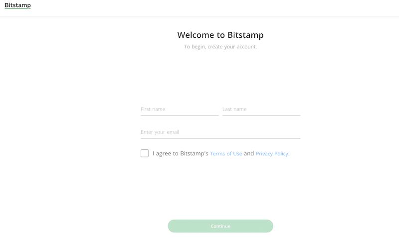 Bitstamp registration form