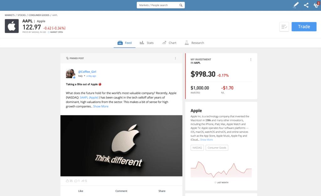 etoro apple profile page how to invest money