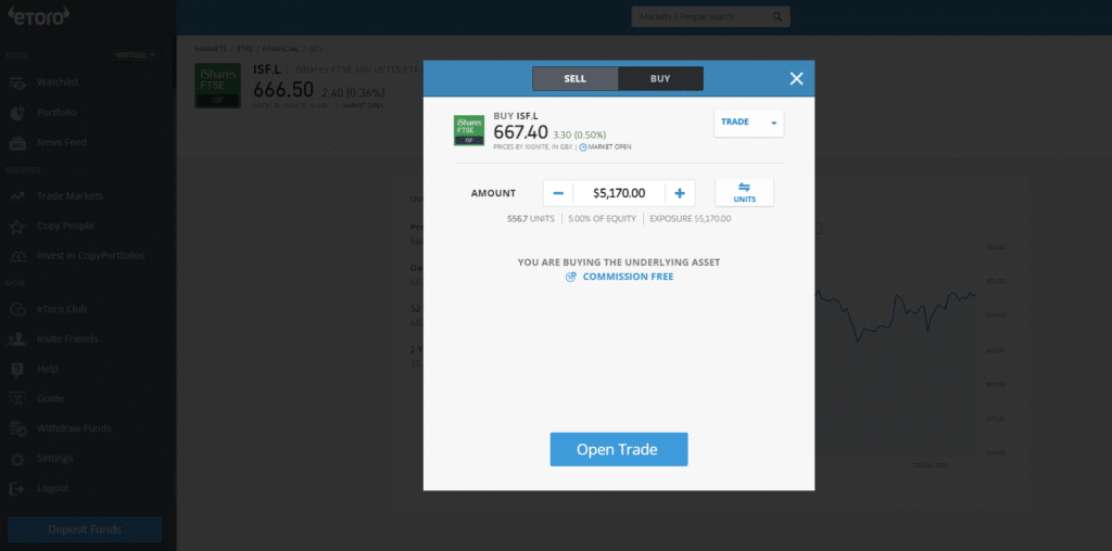 eToro iShares FTSE 100 ETF ticket