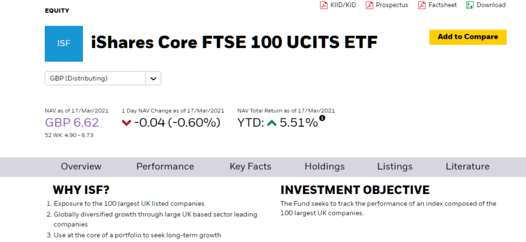 iShares FTSE 100 description