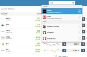 Search for cyclical stocks on eToro