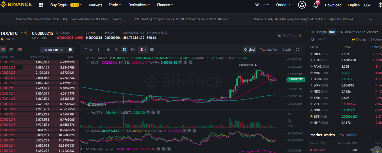 Binance trading engine for Tron trades