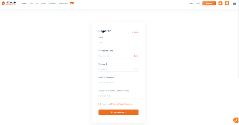 Bithumb registration form