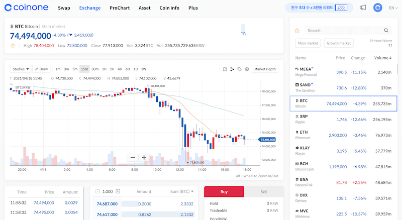 Coinone exchange tab