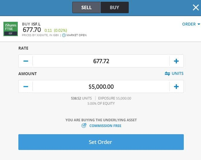 Enter order to buy ETF