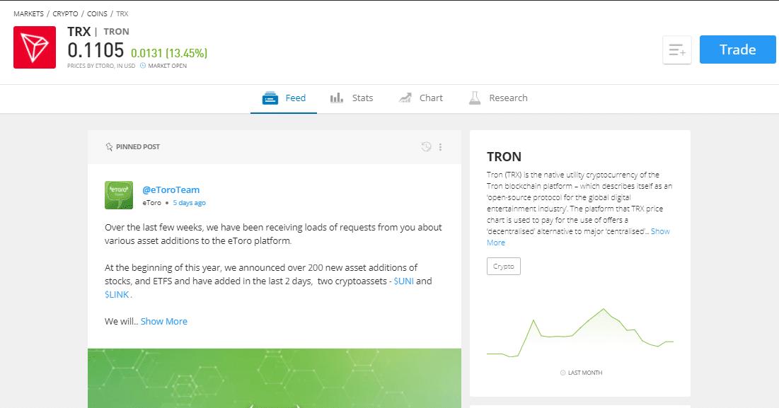 Tron page on eToro