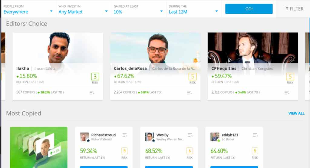 eToro trading platform for buying vilatile stocks